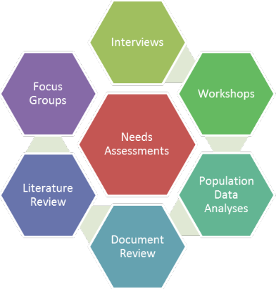 Hexagon labelled Needs Assessment surrounded by hexagons labelled Interviews, Workshops, Population analyses, Document review, Literature review, Focus group